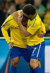 20.06.2010, Soccer City Stadium, Johannesburg, RSA, FIFA WM 2010, Brazil (BRA) vs Ivory Coast (CIV), im Bild Luis Fabiano and Elano of Brazil celebrate after Luis Fabiano scored second time. EXPA Pictures © 2010, PhotoCredit: EXPA/ Sportida/ Vid Ponikvar