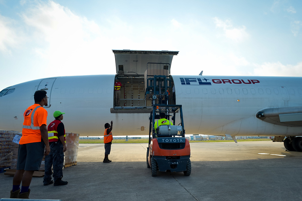 Donated relief supplies are loaded on a plant to be taken to the U.S. Virgin Islands as part of Tim Duncan's Hurricane Irma relief efforts Thursday, September 14, 20178 in San Antonio, TX.<br /> Photo&copy;Bahram Mark Sobhani