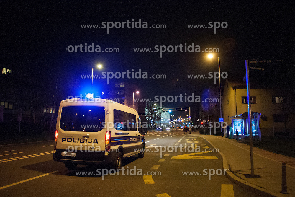 Police before handball match between PPD Zagreb (CRO) and RK Celje Pivovarna Lasko (SLO) in 13th Round of Group Phase of EHF Champions League 2015/16, on February 27, 2016 in Arena Zagreb, Zagreb, Croatia. Photo by Urban Urbanc / Sportida