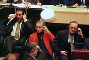 European parliament, vote about the mention of censure. Left to right: Jua de deus Pinheiro, Ritt Bjerregaard, Yves Thibault de Silguy(© NORDFOTO/Olivier Polet)