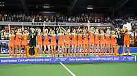 AMSTELVEEN - Oranje met goud  na de  damesfinale Nederland-Belgie bij de Rabo EuroHockey Championships 2017.   COPYRIGHT KOEN SUYK