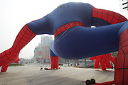 ZHENGZHOU, CHINA - OCTOBER 27:  China Out - Finland Out<br /> <br /> A giant spider-man which looks as high as a five - story building is seen at the intersection of Nongye road and Zhongdaodadao street on October 27, 2013 in Zhengzhou, Henan province of China. <br /> ©Exclusivepix