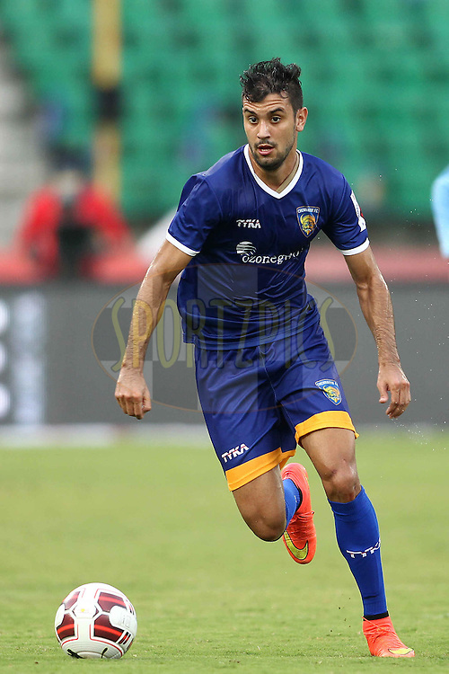 Bruno Augusto Pelissari de Lima of Chennaiyin FC on the attack during match 53 of the Hero Indian Super League between Chennaiyin FC and Delhi Dynamos held at the Jawaharlal Nehru Stadium, Chennai, India on the 9th December 2014.<br /> <br /> Photo by:  Shaun Roy/ ISL/ SPORTZPICS