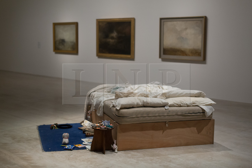 """@Licensed to London News Pictures 12/10/2017. Margate, Kent. British artist Tracey Emin most contemporary work of art """"My Bed 1998""""  is on display at the Turner Contemporary art gallery in her home town Margate in Kent. Commonly know as her Unmade Bed features stained sheets, cigarette packets, discarded condoms and dirty underwear and is on display until the 14th of January at the Turner Contemporary art gallery in Margate, Kent.. Photo credit: Manu Palomeque/LNP"""