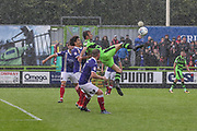 Forest Green Rovers Christian Doidge(9) attempts an overhead kick during the EFL Sky Bet League 2 match between Forest Green Rovers and Exeter City at the New Lawn, Forest Green, United Kingdom on 9 September 2017. Photo by Shane Healey.