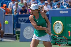 August 19, 2018 - Mason, Ohio, USA - Simona Halep (ROU) hits a backhand shot during Sunday's final round of the Western and Southern Open at the Lindner Family Tennis Center, Mason, Oh. (Credit Image: © Scott Stuart via ZUMA Wire)