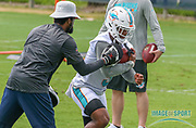 Miami Dolphins running back Mark Walton(9) with quality control coach Tiquan Underwood during Minicamp at the Baptist Health Training Facility at Nova Southeastern University, Wednesday, June 5, 2019 in Davie, Fla. (Kim Hukari/Image of Sport)