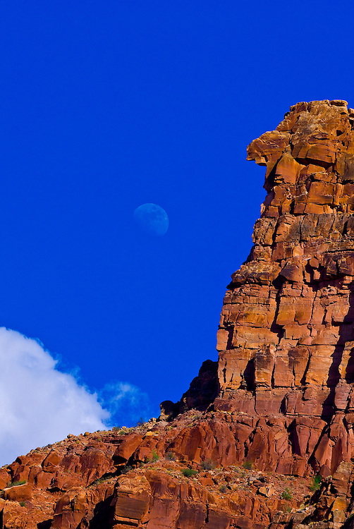 Moonrise, near Rapid 5 in Cataract Canyon, the Colorado River in Canyonlands National Park, Utah, USA.
