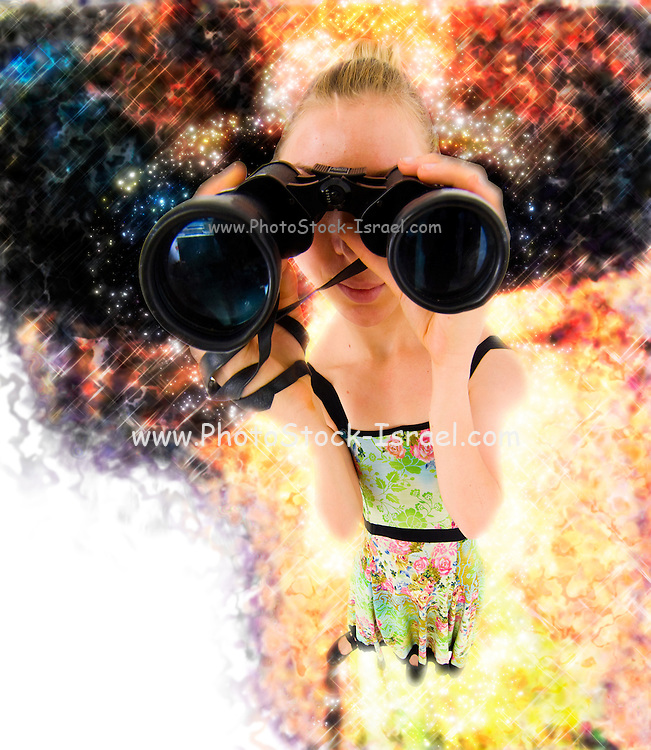 Young blond woman with binoculars - exaggerated viewing angle digitally enhanced