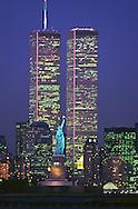 Statue of Liberty Between Twin Towers, World Trade Center at Twilight, New York City, New Jersey,  New York, designed Minoru Yamasaki