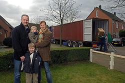 OUD-HEUSDEN, THE NETHERLANDS - FEB-23-2007 - Henry Diepeveen , his wife Ingrid and their sons Max, 6, and Niek, 2, are moving from their home in the Netherlands to Kobe, Japan where Mr. Diepeveen will work for the Dutch multi-national company Wartsila Propulsion B.V. Movers from De Haan Removals fill a shipping container with the Diepeveen's household belongings which will be shipped to Japan. (PHOTO / JOCK FISTICK)