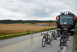 Teams set up along a country road at Ladies Tour of Norway 2018 Team Time Trial, a 24 km team time trial from Aremark to Halden, Norway on August 16, 2018. Photo by Sean Robinson/velofocus.com