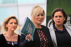 © Licensed to London News Pictures. 31/01/2017. Belfast, Northern Ireland, UK. Sinn Féin's leader in the north of Ireland, Michelle O'Neill , flanked by Martina Anderson MEP (l) and , deputy leader Mary Lou McDonald TD (R), speaks during a news conference in Belfast's Waterfront Hall. Sinn Féin where launching their document 'The Case for the North to achieve Designated Special Status Within the EU' on the day Westminister debate Brexit. Photo credit : Paul McErlane/LNP