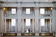 Parisa and Afshin pose for portraits during their engagement session at San Francisco City Hall in San Francisco, California, on November 1, 2016. (Stan Olszewski/SOSKIphoto)
