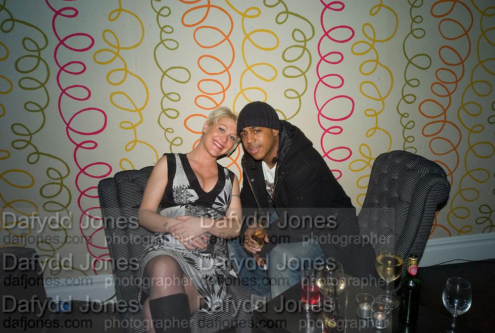 JO O'MEARA AND BRADLEY MCINTOSH FROM S CLUB 7, Bingo Lotto launch party. Soho Hotel Richmond Mews. London. 29 February 2008.  *** Local Caption *** -DO NOT ARCHIVE-© Copyright Photograph by Dafydd Jones. 248 Clapham Rd. London SW9 0PZ. Tel 0207 820 0771. www.dafjones.com.