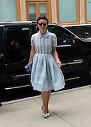 June 26, 2014 - New York, New York, U.S. - <br /> <br /> Keira Knightley Out In New York<br /> <br /> Actress KEIRA KNIGHTLEY arrives at a downtown hotel wearing a blue flowing dress, holding encrusted clutch purse with silver shoes and her hair up. <br /> ©Exclusivepix