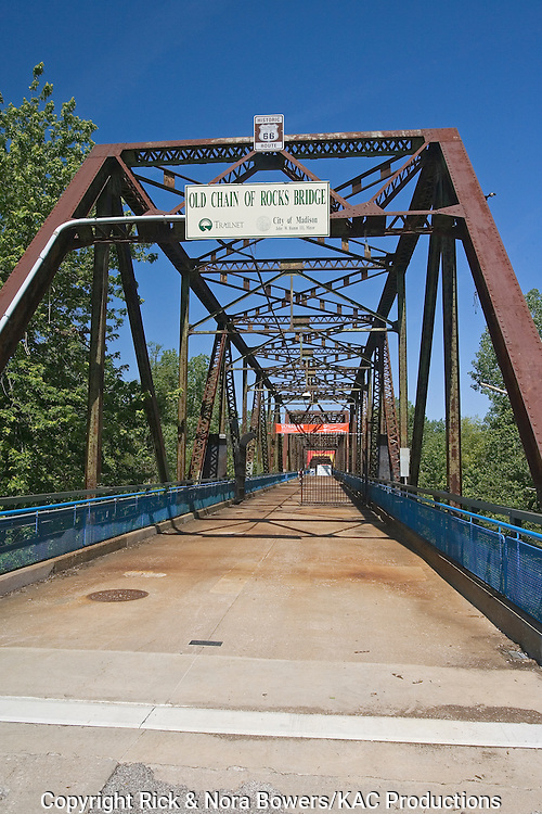 Chain of Rocks Bridge, a cantilevered through truss bridge, built in 1929 to carry Route 66 over the Mississippi River. More than a mile in length, the iron bridge was closed to vehicles in 1968 and reopened to pedestrians and bicyclists in 1999.