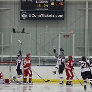 Theresa Knutson, UConn, celebrates after scoring during the UConn Vs Boston University, Women's Ice Hockey game at Mark Edward Freitas Ice Forum, Storrs, Connecticut, USA. 5th December 2015. Photo Tim Clayton