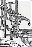 Sawmill powered by an undershot water wheel. Engraving 1650.
