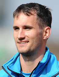 Somerset's Lewis Gregory- Photo mandatory by-line: Harry Trump/JMP - Mobile: 07966 386802 - 13/04/15 - SPORT - CRICKET - LVCC County Championship - Day 2 - Somerset v Durham - The County Ground, Taunton, England.
