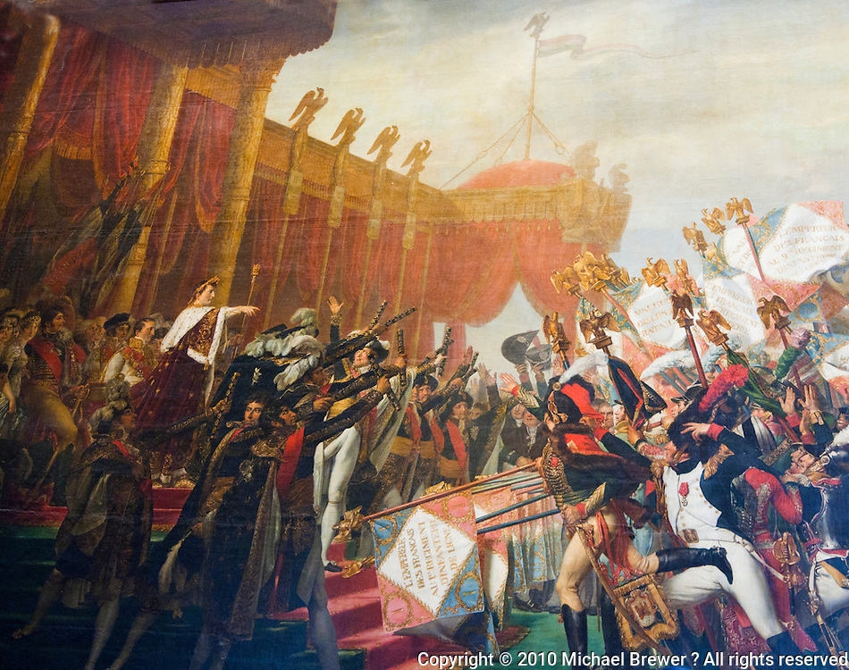 Palace of Versailles. Tapestry of Napoleon being adored by his troops.
