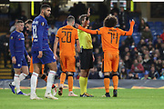 Amr Warda of PAOK FC (74) appealing to the ref during the Champions League group stage match between Chelsea and PAOK Salonica at Stamford Bridge, London, England on 29 November 2018.
