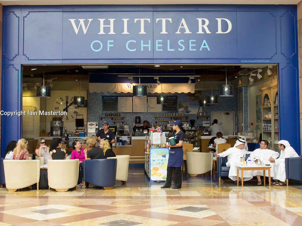 Whittard of Chelsea tea and coffee shop in shopping mall in Dubai United Arab Emirates