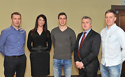 Armagh and Crossmaglen's Oisin McConville, Siobhan O'Grady (Pronutrics Nutrition), Lee Keegan, Stephen Rochford and Kevin Keane at the Westport GAA seminar on Health and Wellbeing.<br /> Pic Conor McKeown