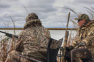 Hunters at the ready during a Manitoba diver hunt.