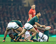 Embrose Papier of South Africa gets the ball away<br /> <br /> Photographer Simon King/Replay Images<br /> <br /> Under Armour Series - Wales v South Africa - Saturday 24th November 2018 - Principality Stadium - Cardiff<br /> <br /> World Copyright © Replay Images . All rights reserved. info@replayimages.co.uk - http://replayimages.co.uk
