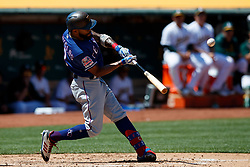 OAKLAND, CA - JULY 28:  Delino DeShields #3 of the Texas Rangers hits a triple against the Oakland Athletics during the fifth inning at the RingCentral Coliseum on July 28, 2019 in Oakland, California. The Oakland Athletics defeated the Texas Rangers 6-5. (Photo by Jason O. Watson/Getty Images) *** Local Caption *** Delino DeShields