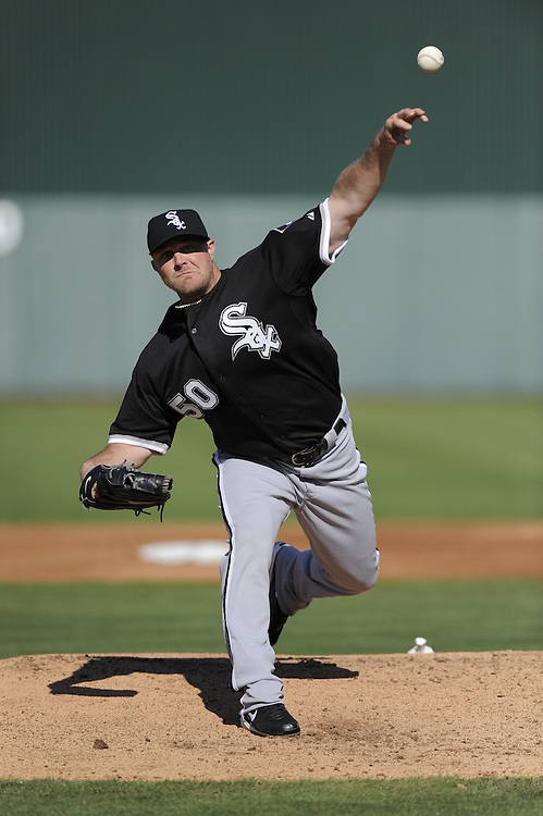 TEMPE, AZ - MARCH 4:  John Danks #50 of the Chicago White Sox pitches against the Los Angeles Angels on March 4, 2010 at Tempe Diablo Stadium in Tempe, Arizona. (Photo by Ron Vesely/MLB Photos via Getty Images)  *** Local Caption *** John Danks