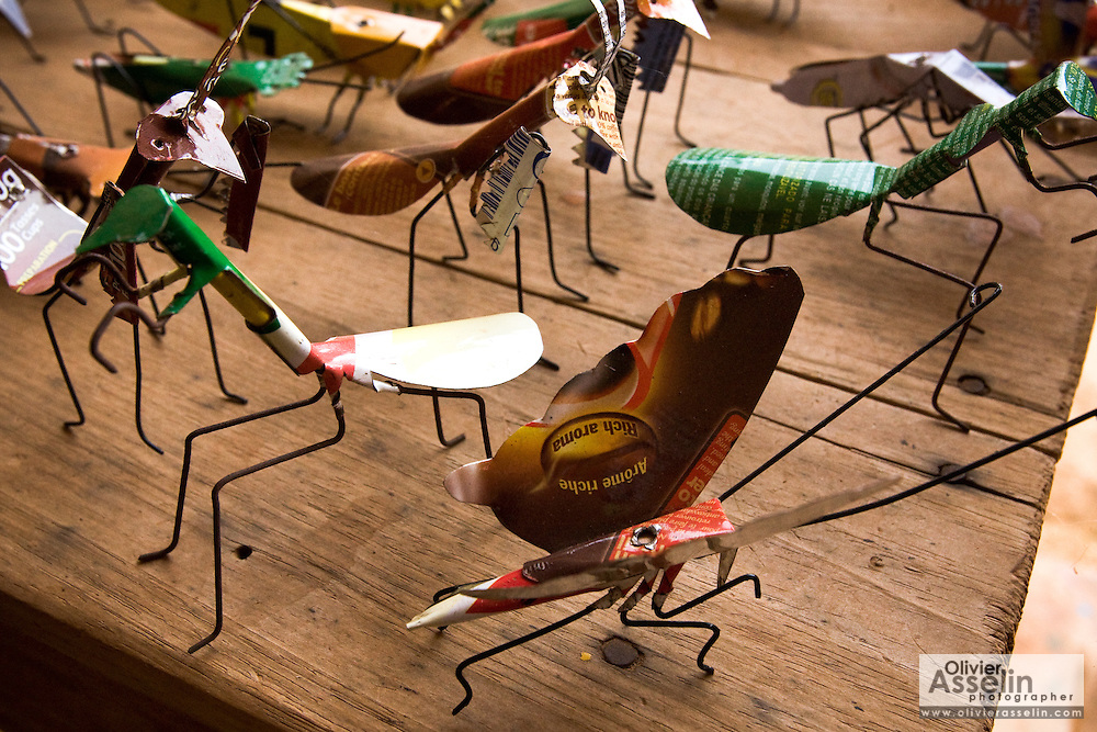 Insects made from recycled metal cans at the Village Artisanal de Ouagadougou, a cooperative that employs dozens of artisans who work in different mediums, in Ouagadougou, Burkina Faso, on Monday November 3, 2008.