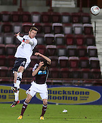 Dundee's Iain Davidson  towers above Hearts' Jason Holt - Hearts v Dundee in the Clydesdale Bank, Scottish Premier League at Tynecastle.. - © David Young - www.davidyoungphoto.co.uk - email: davidyoungphoto@gmail.com