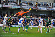 Bristol Rovers Goalkeeper, Joe Lumley (31) pinches clear a corner during the EFL Sky Bet League 1 match between Bristol Rovers and Scunthorpe United at the Memorial Stadium, Bristol, England on 25 February 2017. Photo by Adam Rivers.