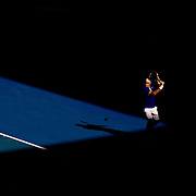 Roger Federer of Switzerland during his five set victory over Tomas Berdych at the Australian Tennis Open on January 25, 2009 in Melbourne, Australia. Photo Tim Clayton    .
