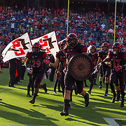 02 September 2017: San Diego State Aztecs fullback Nick Bawden #15 leads the team onto the field prior to taking on the UC Davis Aggies. The Aztecs lead the Aggies 24-3 at the half at Qualcomm Stadium in San Diego, California. <br /> www.sdsuaztecphotos.com