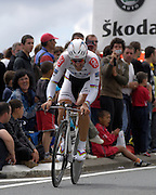 France - Tuesday, Jul 08 2008:  CSC-Saxo Bank's Fabian Cancellara (Swi) powers out of a corner towards La Romagne during Stage 4 of the 2008 Tour de France cycle race.  Cancellara completed the 29.5km time trial out and back to Cholet in a time of 36 mins 17 seconds which earned him fifth place, 33 seconds behind Gerolsteiner's Stefan Schumacher.   (Photo by Peter Horrell / http://www.peterhorrell.com)