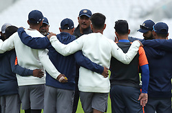Ravi Shastri speaks to the India team during the nets session at The Kia Oval, London.