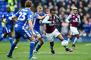 Jordan Ayew of Aston Villa (right) ahead of Maikel Kieftenbeld of Birmingham City (left) during the Sky Bet Championship match at St Andrews, Birmingham<br /> Picture by Andy Kearns/Focus Images Ltd 0781 864 4264<br /> 30/10/2016