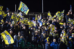 Clermont Auvergne fans in the crowd celebrate the win - Mandatory byline: Patrick Khachfe/JMP - 07966 386802 - 06/12/2019 - RUGBY UNION - The Recreation Ground - Bath, England - Bath Rugby v Clermont Auvergne - Heineken Champions Cup