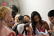 LOS ANGELES, CA - OCTOBER 22, 2016:  <br /> <br /> Bella Beautiful (Florida) gets a good luck kiss from her boyfriend Glass McArthur at the Transnation Queen USA 2016 pageant.<br /> <br /> (Melissa Lyttle for The Guardian)