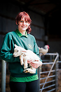 Staff member from Foel Farm Park Anglesey holding a young lamb and smiling