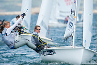 Hannah Mills and Saskia Clark (GBR), 470, women's two person dinghy, Sailing Olympic Test Event, Weymouth, England
