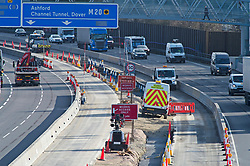 ©Licensed to London News Pictures 05/02/2020<br /> Maidstone, UK. Smart motorway construction work on the M20. The UK government has stopped all Smart motorway development schemes while it awaits the results of a review into their safety. This means a £92 million stretch of the M20 in Kent will not open as a smart motorway until the review has been completed. The new 6.5 mile section between junctions three and five near Maidstone was due to open next month but now may never open as a smart motorway. Photo credit: Grant Falvey/LNP