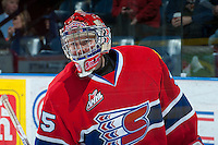 KELOWNA, CANADA -JANUARY 29: Eric Williams G #35 of the Spokane Chiefs skates during warm up against the Kelowna Rockets on January 29, 2014 at Prospera Place in Kelowna, British Columbia, Canada.   (Photo by Marissa Baecker/Getty Images)  *** Local Caption *** Eric Williams;