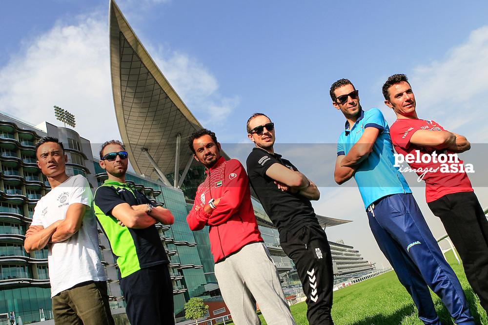 2015 Dubai Tour  / Team presentation / Dubai / the United Arab Emirate / Vincenzo Nibali (Ita) / Astana / John Degenkolb (Ger) / Team Giant-Alpecin / Joaquim Rodriguez (Spa) / Team Katusha / Alejandro Valverde (Spa) / Movistar Team / Gang Xu (Chn) / Lampre-Merida