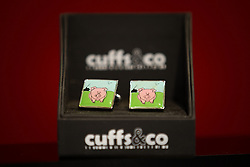 © Licensed to London News Pictures . 27/09/2015 . Brighton , UK . Labour-themed cufflinks for sale at the exhibition at the 2015 Labour Party Conference , featuring pigs , in reference to recent allegations about Conservative leader , David Cameron . Photo credit : Joel Goodman/LNP