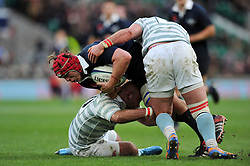 Fergus Taylor of Oxford University is double-tackled - Photo mandatory by-line: Patrick Khachfe/JMP - Mobile: 07966 386802 11/12/2014 - SPORT - RUGBY UNION - London - Twickenham Stadium - Oxford University v Cambridge University - The Varsity Match