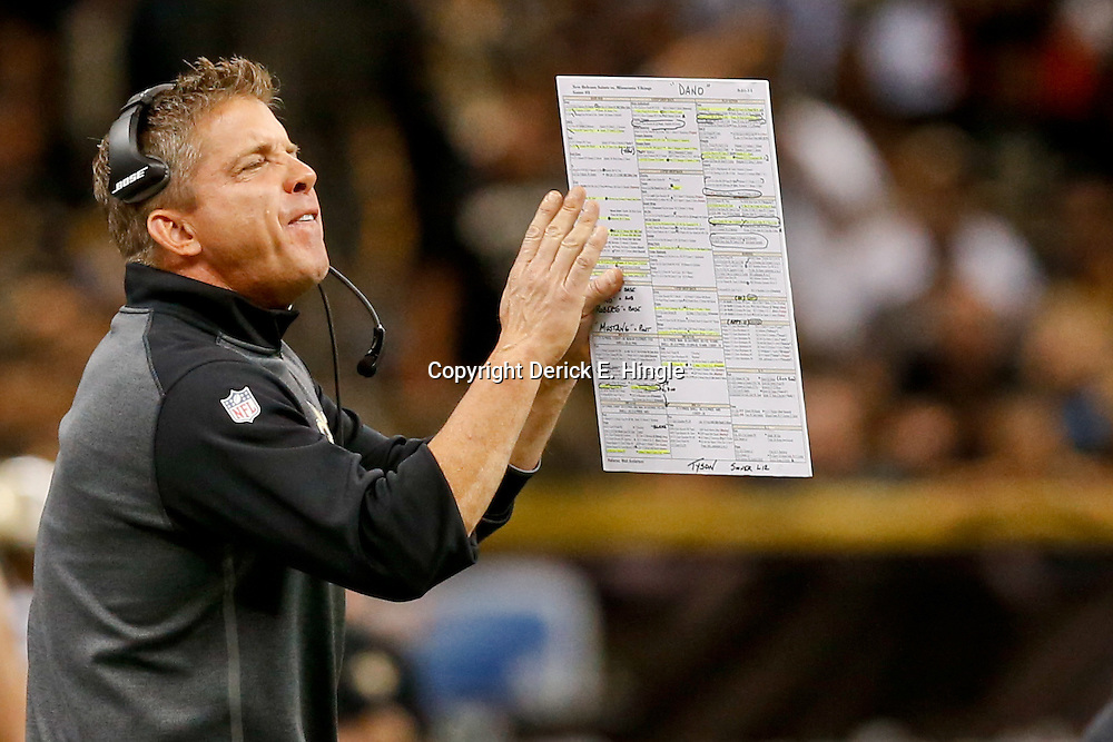 Sep 21, 2014; New Orleans, LA, USA; New Orleans Saints head coach Sean Payton during the second half of a game against the Minnesota Vikings at Mercedes-Benz Superdome. The Saints defeated the Vikings 20-9. Mandatory Credit: Derick E. Hingle-USA TODAY Sports